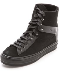 Ferragamo Nicky Shearling High Top Sneakers Nero - Lyst
