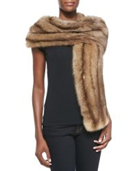 Oscar de la Renta Natural Sable Fur Stole - Lyst