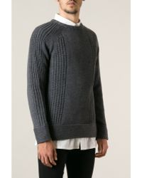 Helmut Lang Charcoal Chunky Knit Sweater - Lyst