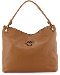Tory Burch Marion Leather Hobo Bag Royal Tan - Lyst