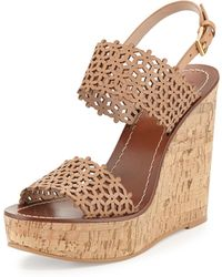 Tory Burch Daisy Perforated Wedge Sandal - Lyst