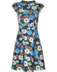 Carven | Cap Sleeve Floral Mini Dress | Lyst