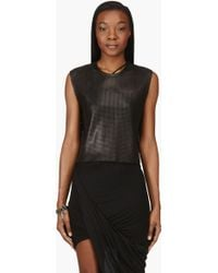 Helmut Lang Black Leather Mesh Sift Tank Top - Lyst