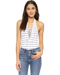 Re:named - Lace Up Stripe Bodysuit - Lyst