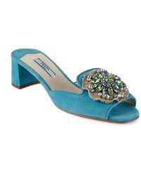 Prada | Embellished Suede Mule Sandals | Lyst