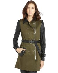 Rachel Zoe Green Stretch Cotton Twill and Leather London Trench Coat - Lyst