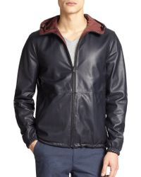 Vince Hooded Reversible Leather Jacket - Lyst