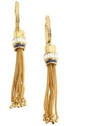 Rachel Zoe Gold And Lapis Tassel Hoop Earrings - Lyst