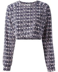 Lulu & Co | Cropped Text Print Blouse | Lyst