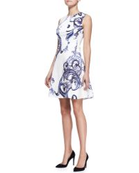 Lela Rose Printed Seamed Dropwaist Dress - Lyst