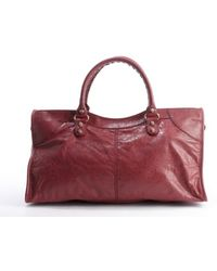 Balenciaga Cassis Leather Part Time Zipper Buckle Detail Convertible Tote - Lyst