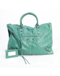 Balenciaga Vert Sauge Green Leather Weekender Travel Bag - Lyst