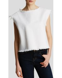 Marc By Marc Jacobs Top - White Denim Fray Sleeveless - Lyst