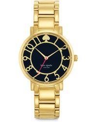 Kate Spade Gramercy Goldtone Stainless Steel & Enamel Bracelet Watch/Black gold - Lyst