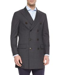 Brunello Cucinelli Wool Double-Breasted Overcoat - Lyst