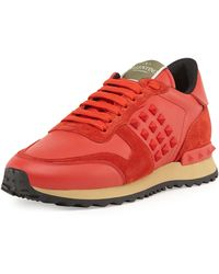 Valentino Rockstud Leather Sneaker - Lyst