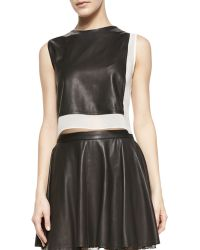 Alice + Olivia Sleeveless Combo Leather Crop Top - Lyst
