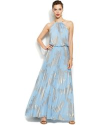 Xscape Pleated Foil Blouson Gown - Lyst
