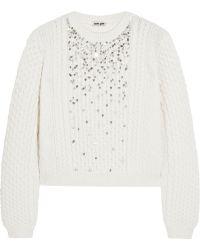 Miu Miu Crystalembellished Cableknit Sweater - Lyst