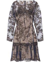 Notte By Marchesa Appliquéd Tulle Mini Dress - Lyst