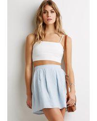 Love 21 Pleated Pinstripe Skirt - Lyst