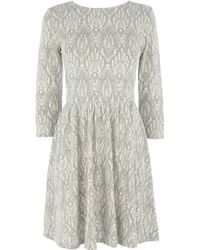 Oasis Lace Textured Skater Dress - Lyst
