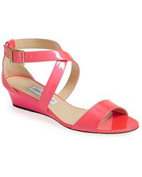 Jimmy Choo Strappy Neon Leather Wedge Sandal - Lyst