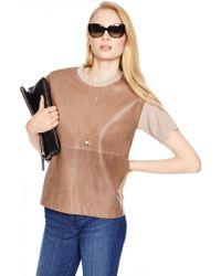 Kate Spade Leather Panel Scuba Sweater beige - Lyst