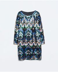 Zara Ethnic Print Sequinned Dress - Lyst