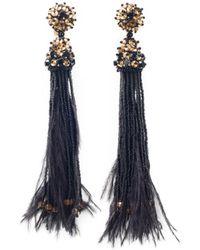 Oscar de la Renta Feather & Crystal Tassel Earrings - Lyst