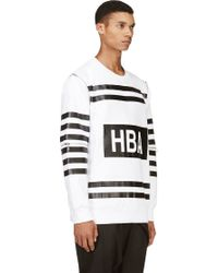 Hood By Air White and Black Double Zip Sleeve Sweatshirt - Lyst