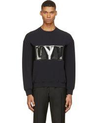 Calvin Klein Black Pvc Band Crewneck Sweatshirt - Lyst