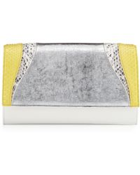 Khirma Eliazov Leather Python Flap Clutch Bag Yellow - Lyst