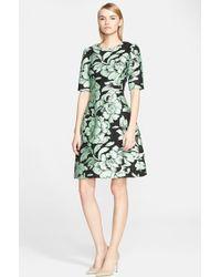 Lela Rose Metallic Brocade Fit & Flare Dress - Lyst