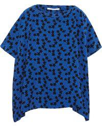 Diane von Furstenberg New Hanky Floral-Print Silk Crepe De Chine Top - Lyst