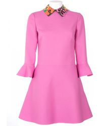 Valentino Dress With Leather Handworking Neck pink - Lyst