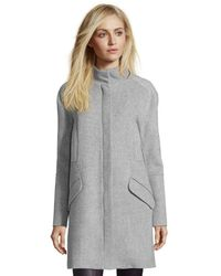 Vince Light Heather Grey Wool Fur Lined Hooded Coat - Lyst