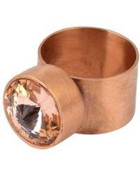 V By Valkeniers Large Rose Gold Ring With Tonal Swarovski Stone - Lyst