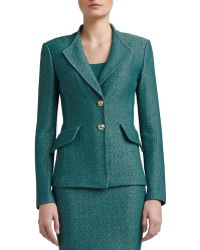 St. John Collection Space Dyed Tack Knit Revere Collar Jacket with Pocket Flaps - Lyst