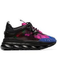 Versace - Black And Multicoloured Chain Reaction Sneakers - Lyst