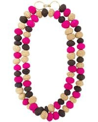 Carolina Herrera - Raffia Beads Long Necklace - Lyst