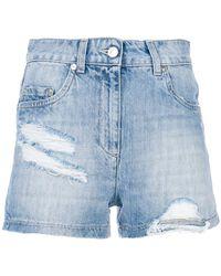 Moschino - Distressed Denim Shorts - Lyst
