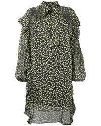 898776ee52c Lyst - Miu Miu Silk Printed Pussybow Midi Dress in Natural