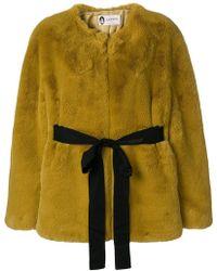 Lanvin - Faux Fur Open Front Coat - Lyst