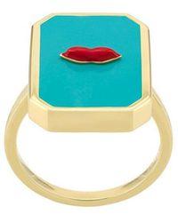 Eshvi - Enamelled Lips Ring - Lyst