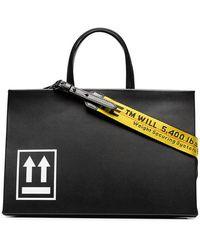 Off-White c/o Virgil Abloh - Black Box Medium Printed Leather Tote - Lyst