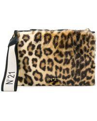 N°21 - Leopard Print Clutch Bag - Lyst