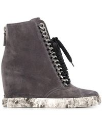 d4a19039106 Lyst - Casadei 90Mm Suede Chained Wedged Boots in Black