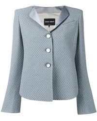 Giorgio Armani - Checkerboard Jacquard Jacket - Lyst