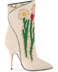 Gucci - Flowers Intarsia Leather Boot - Lyst